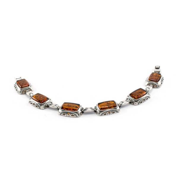Elegant Silver Bracelet with Natural Cognac Amber