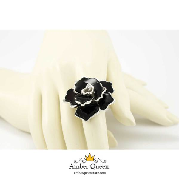 Sterling Silver Flower Ring with Cherry Amber on Hand