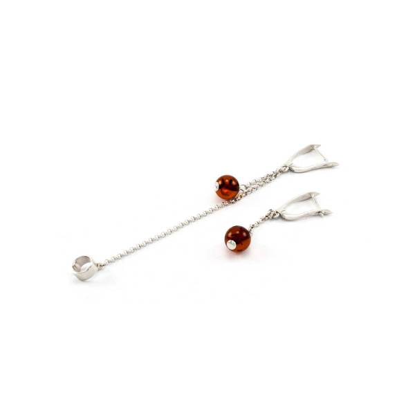 Stylish Silver Earrings with Cognac Ball