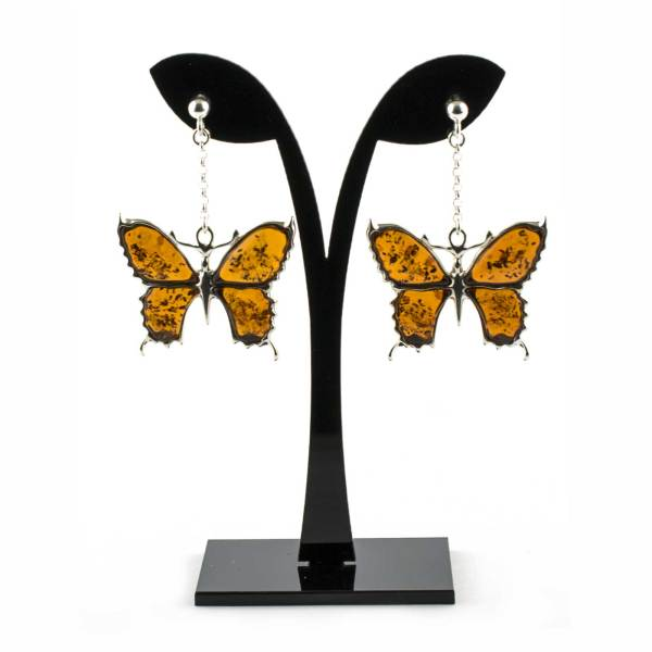 Silver Butterfly Earrings with Cognac Amber on String