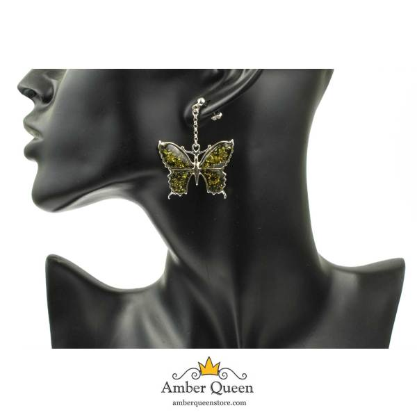 Silver Earrings Butterfly with Green Amber on Mannequin