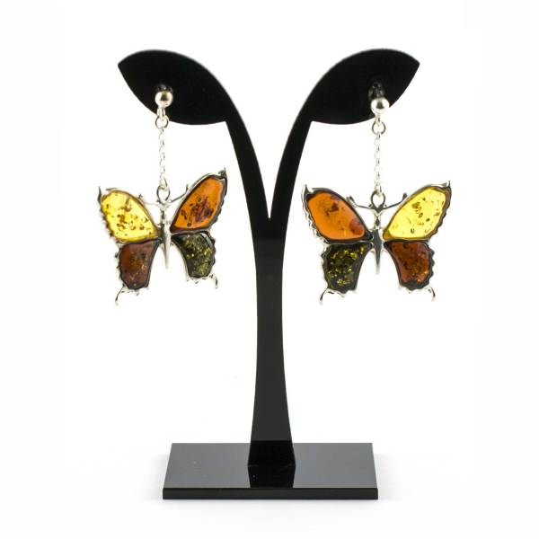 Silver Butterfly Earrings with Multi Color Amber on String