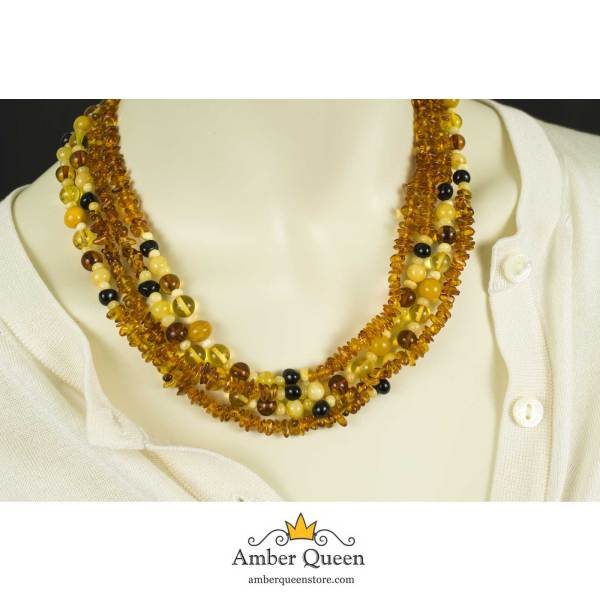 Long Amber Necklace on Mannequin Close