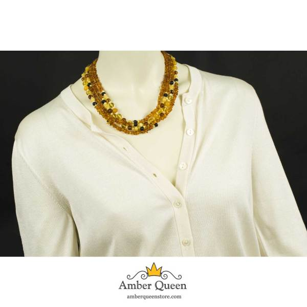 Long Amber Necklace on Mannequin