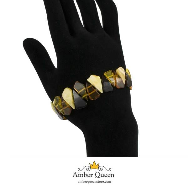 Colorful Amber Bracelet on Hand 2