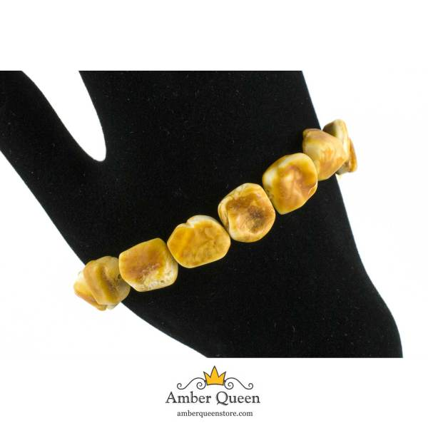 Healing Bracelet from Natural Amber on Hand