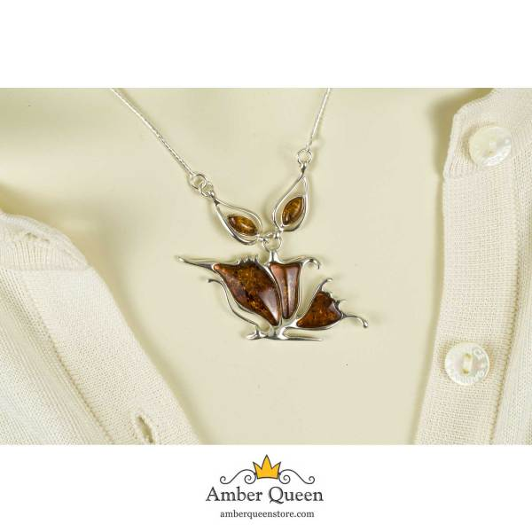 Silver Necklace with Sparkling Cognac Amber Stone on Mannequin close