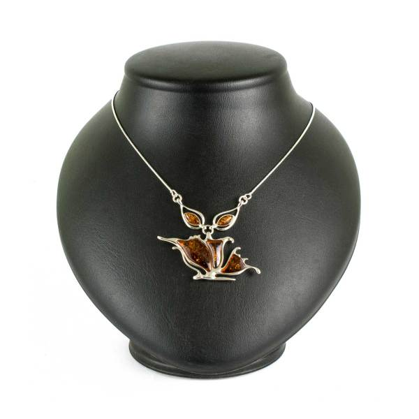 Silver Necklace with Sparkling Cognac Amber Stone