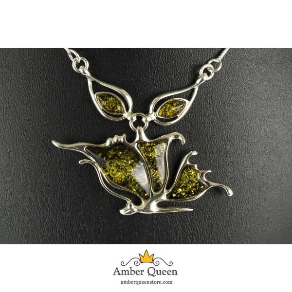 Silver Necklace with Green Amber Stone Close