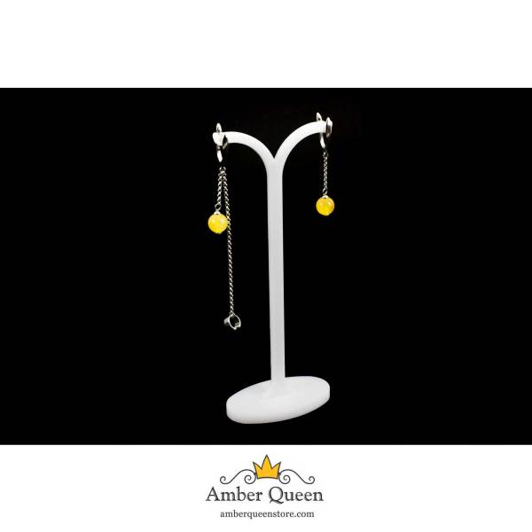 Stylish silver earrings With Yellow amber Balls on String