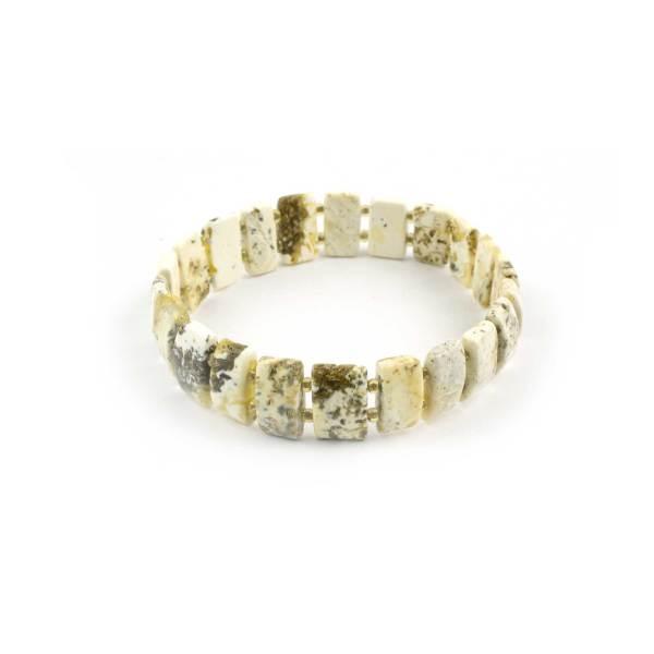 Flat White Natural Baltic Amber Bracelet