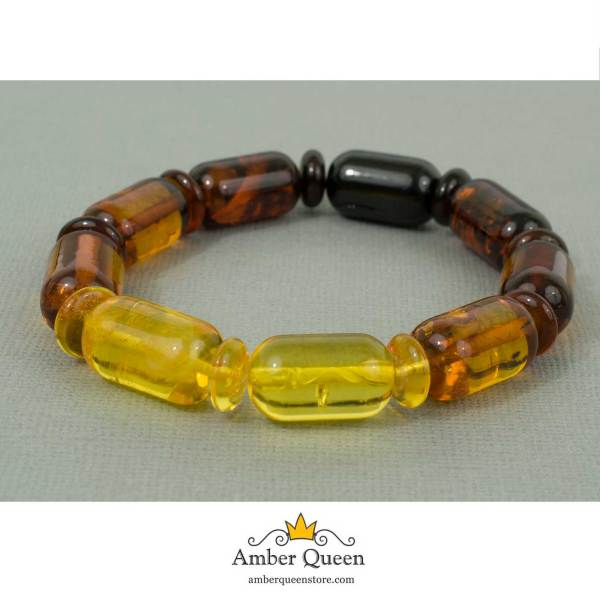 Multicolor Amber Bracelet Rainbow Beads on Grey