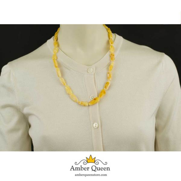 Bright Butterscotch Amber Necklace on Mannequin