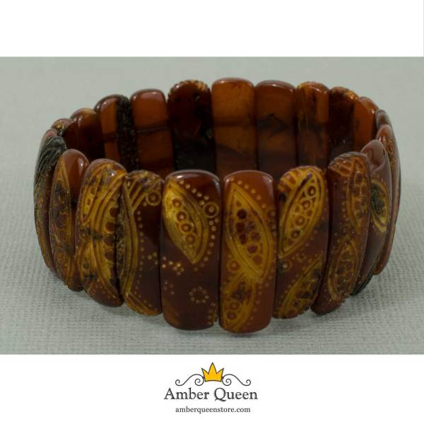 Empossed Beads Amber Bracelet on Grey