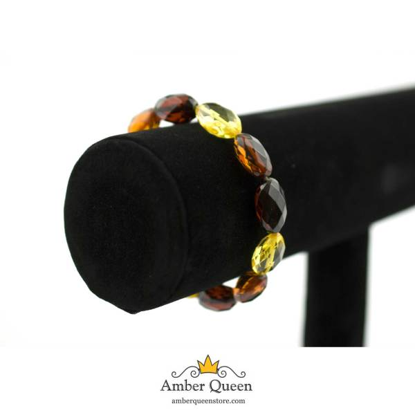 Colored Beads Faceted Amber Bracelet on Stand