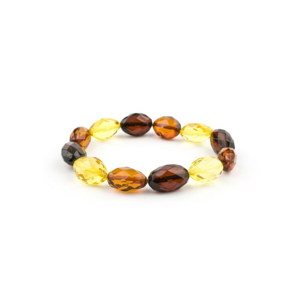 Colored Beads Faceted Amber Bracelet