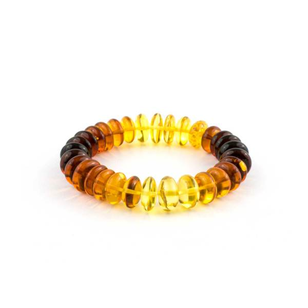 Rainbow Button Beads Amber Bracelet