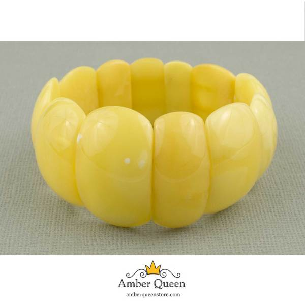 Butterscotch Natural Amber Bracelet on Grey Background