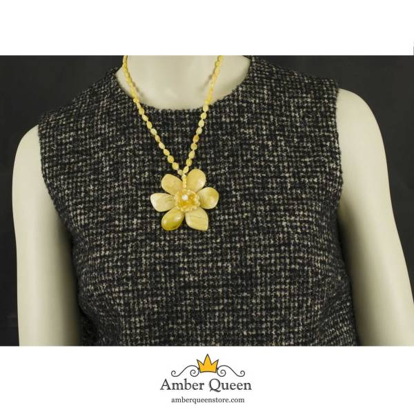 Yellow Amber Necklace with Large Flower Pendant on Mannequin
