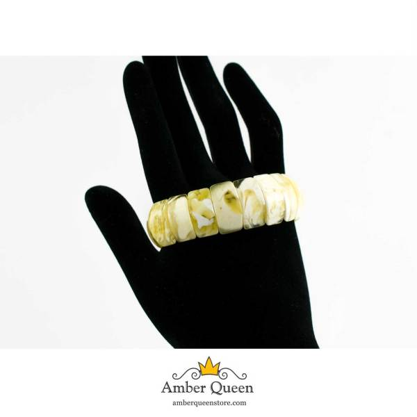 Butterscotch Flat Amber Bracelet with White Pattern on Hand
