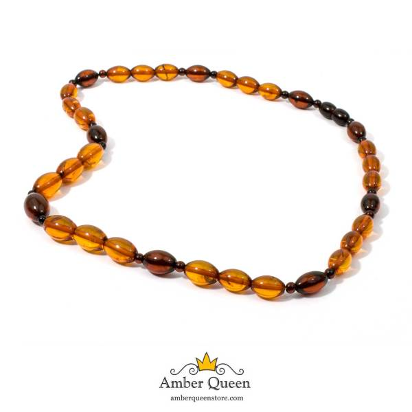 Cognac and Cherry Olive Amber Beads on White