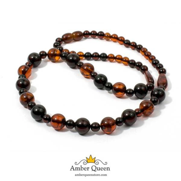 Cognac and Cherry Colors Amber Necklace on White