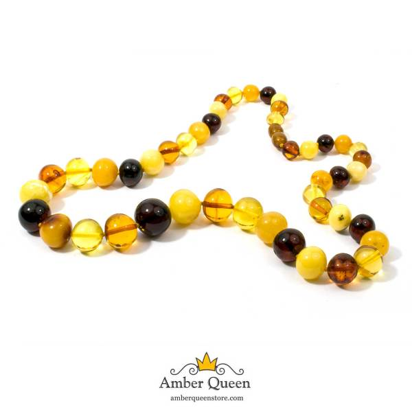 Colorful Baroque Beads Amber Necklace on White