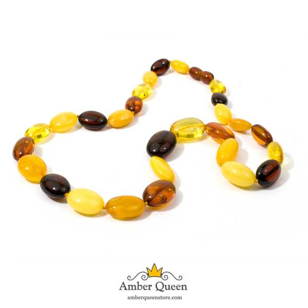 Multicolor Olive Beads Amber Necklace on Mannequin on White