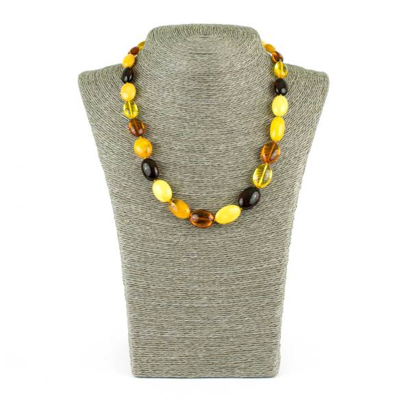 Multicolor Olive Beads Amber Necklace