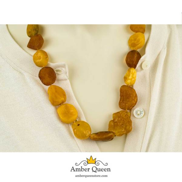 Raw Amber Necklace on Mannequin Close Up