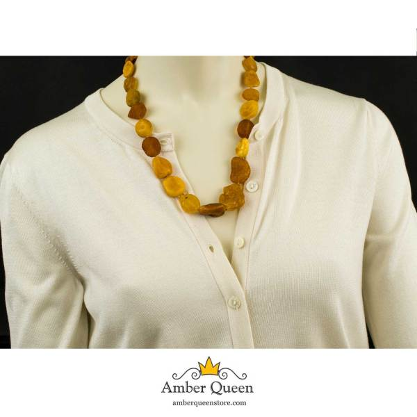 Raw Amber Necklace on Mannequin