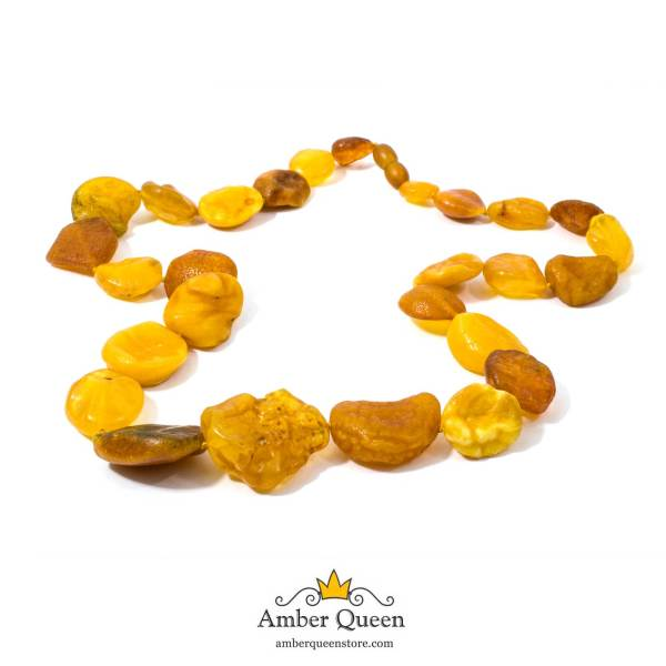 Raw Amber Necklace on White