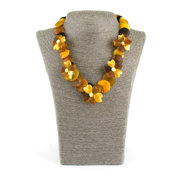 Unpolished Amber Necklace With Flowers
