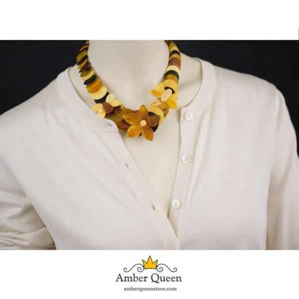 Summer Necklace from Unpolished Amber on Mannequin