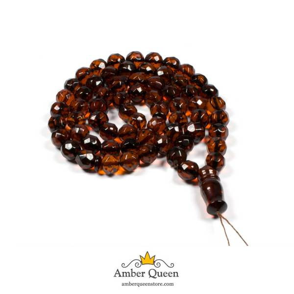 Cherry Faceted 66 Beads Amber Rosaries