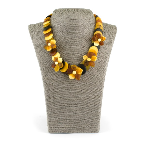 Unpolished Disc Beads Colorful Amber Necklace with Flowers