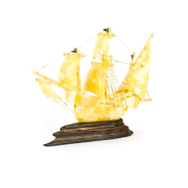 Handmade Ship Figurine from Natural Baltic Amber