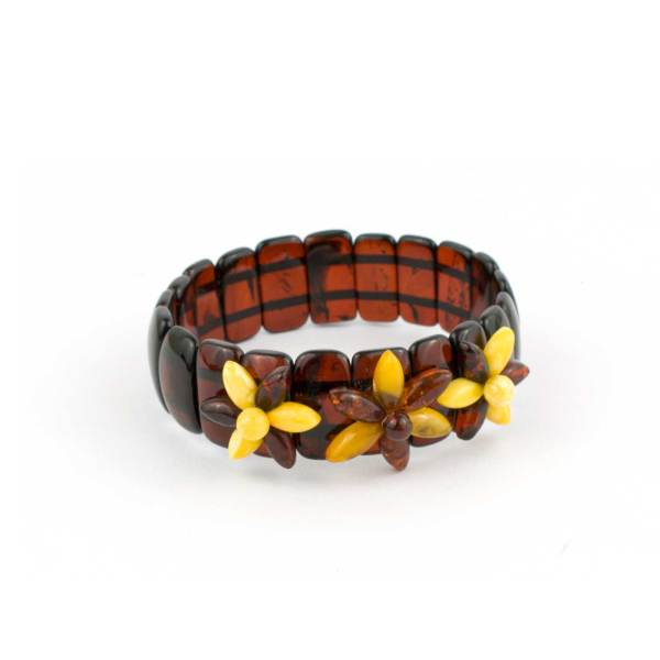 Cherry Color Strech Amber Bracelet
