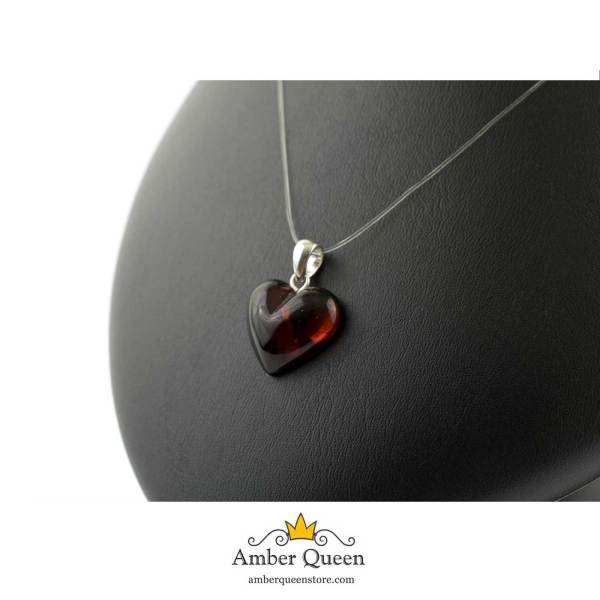 Cherry Heart Pendant Silver and Amber