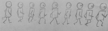 Stick figure walking motion