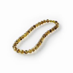 Apvalūs, žalio gintaro karoliai 11mm, Round green amber necklace 11mm