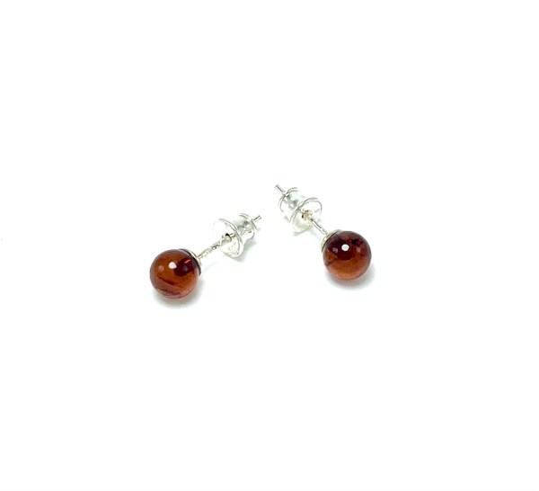 Apvalūs tamsaus gintaro auskarai 6mm Sidabras 925, Round cherry amber earrings 6mm Sterling silver