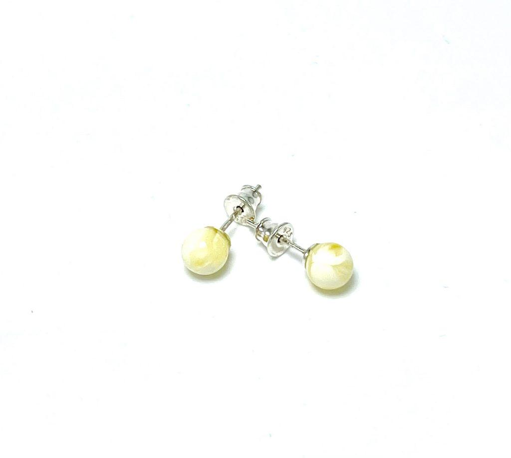 Apvalūs balto gintaro auskarai 6mm Sidabras 925, Round white amber earrings 6mm Sterling silver