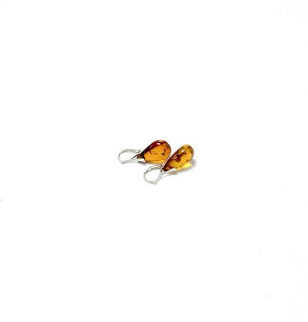 Klasikinio stiliaus kabantys gintaro auskarai Sidabras 925, Classic style dangle amber earrings Sterling silver
