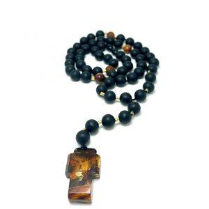 Krikščioniškas juodo gintaro rožinis 10 mm,Black amber round beads Christian rosary 10 mm