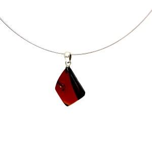 Rankų darbo vyšninis gintaro pakabukas Sidabras 925, Cherry amber flame pendant Sterling silver