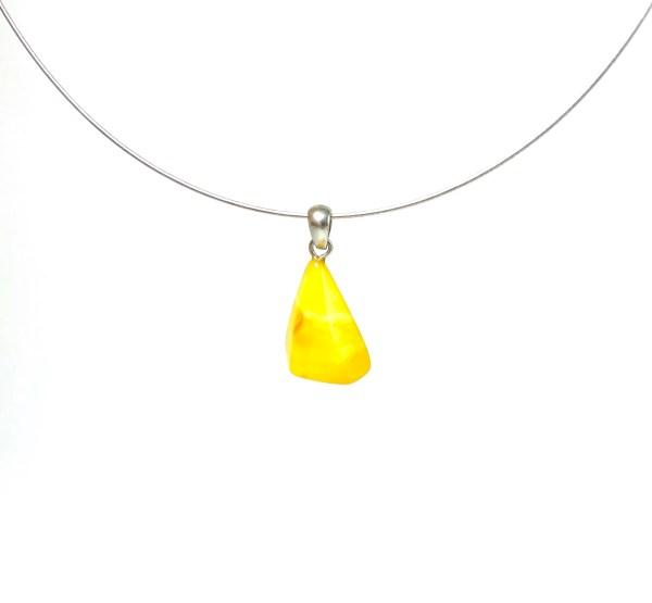 Rankų darbo geltono gintaro pakabukas Sidabras 925,Milky amber handmade pendant Sterling silver