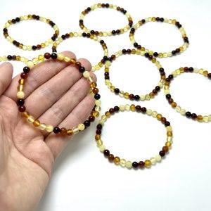 Įvairiaspalvė gintaro rutuliukų apyrankė 5 mm, multicolored amber round beads stretch bracelet