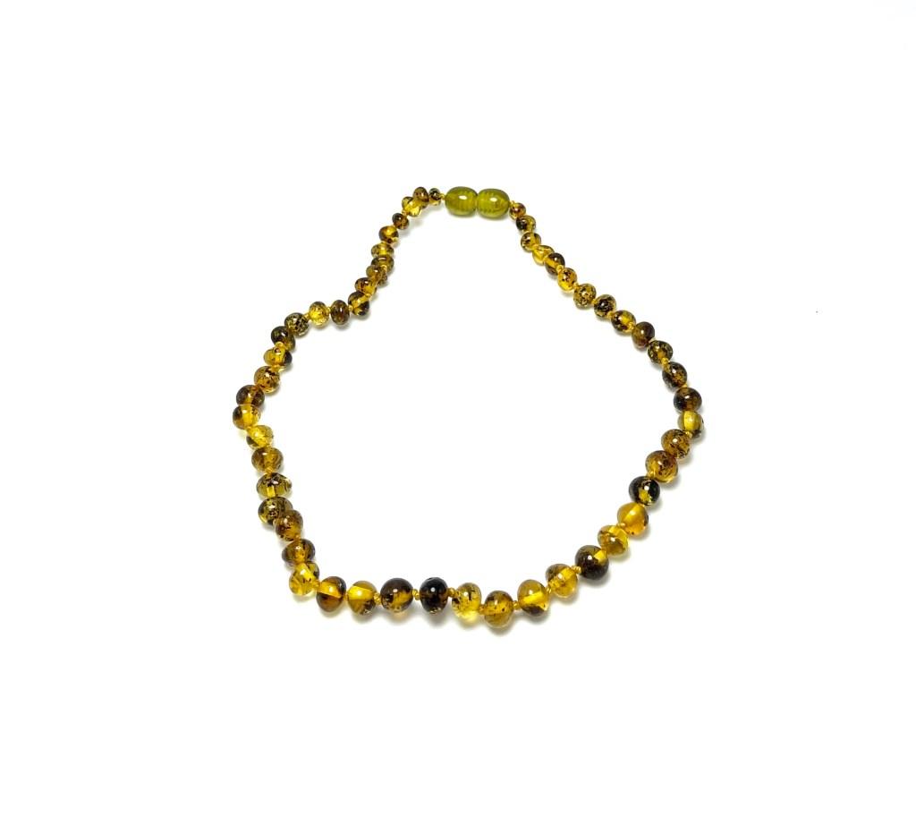 Vaikiški gintaro karoliai su fosilijomis - baroko formos šaratėliai,Baby amber necklace - fossil baroque beads