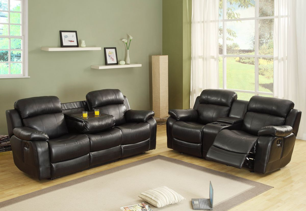 Double Recliner Chair Home Elegance 9724blk 2pc 2 Pc Marille Black Bonded Leather Match Double Reclining Sofa And Love Seat Set